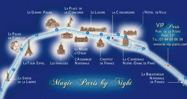 Itinéraire de la croisière sur le VIP Paris